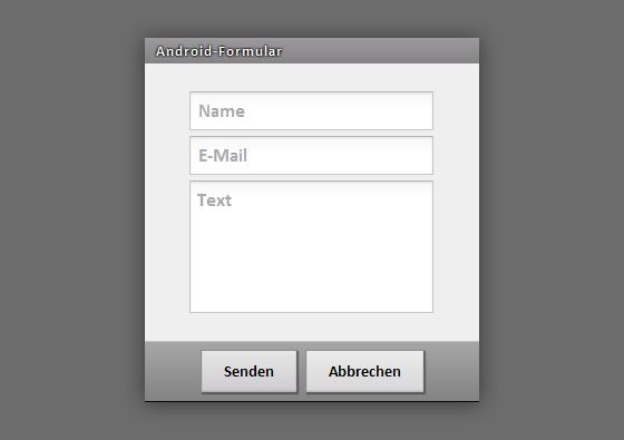 Android 2.3 Formular in HTML und CSS