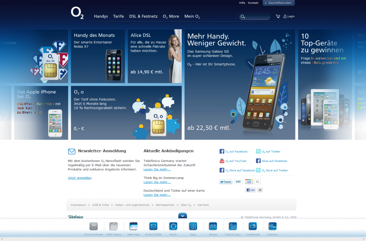 Kachel design  O2 Online im Kacheldesign
