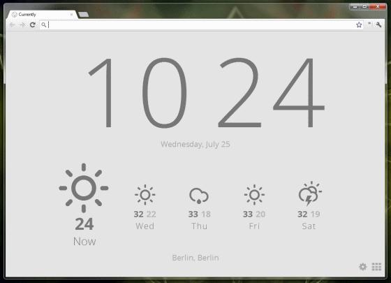 Uhr und Wetter im neuen Tab – Currently