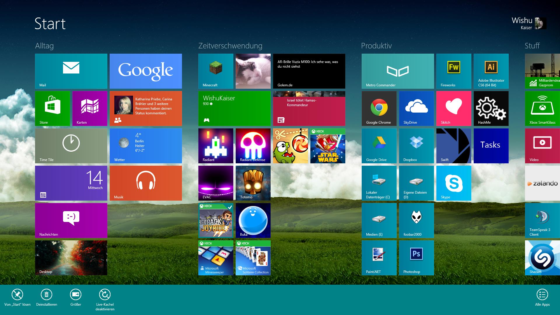 Windows 8 Start Hintergrund ändern