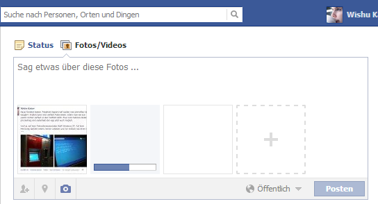 Drag'n'Drop Bildupload bei Facebook