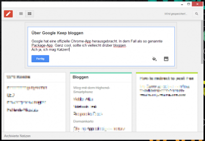 Google Keep als Packaged App für Chrome