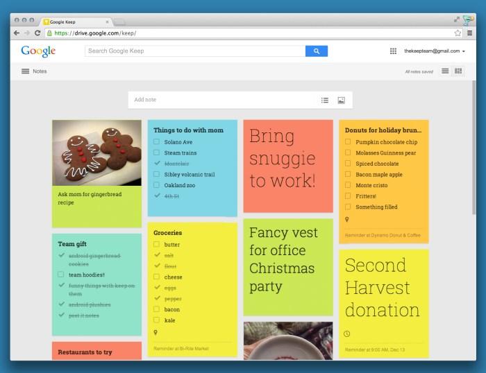 Google Keep Webversion schließt zur App auf