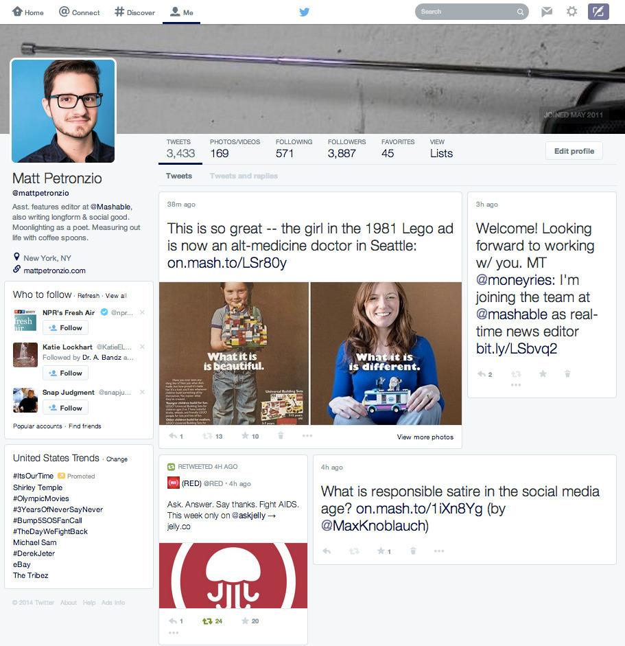 Neues Twitter Profil-Design 02-2014 Screenshot