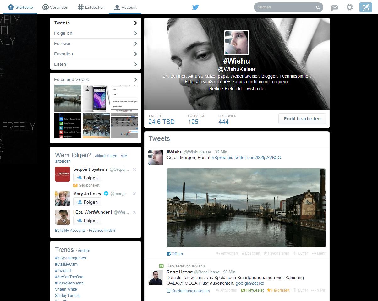 Aktuelles Twitter-Profildesign