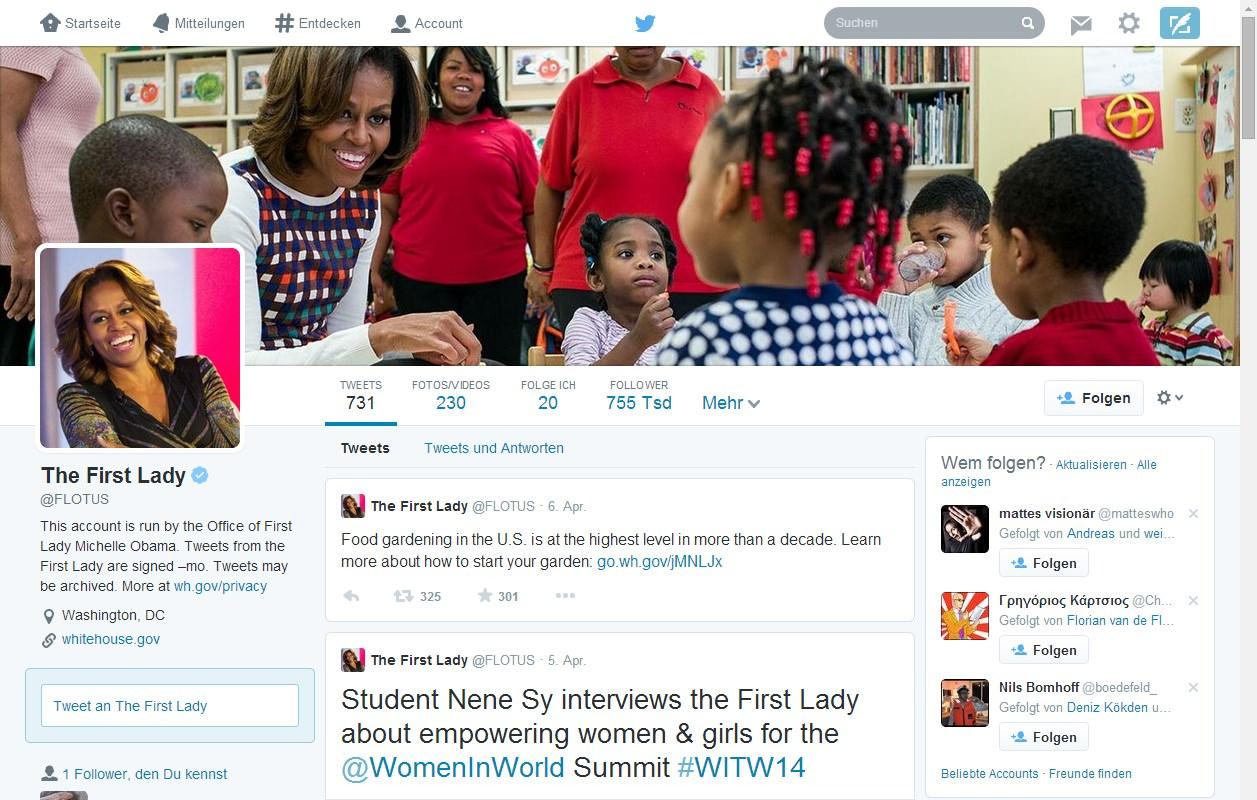 Michelle Obama - Neues Twitterprofil (2014)