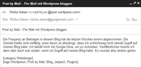 Per Mail mit WordPress bloggen