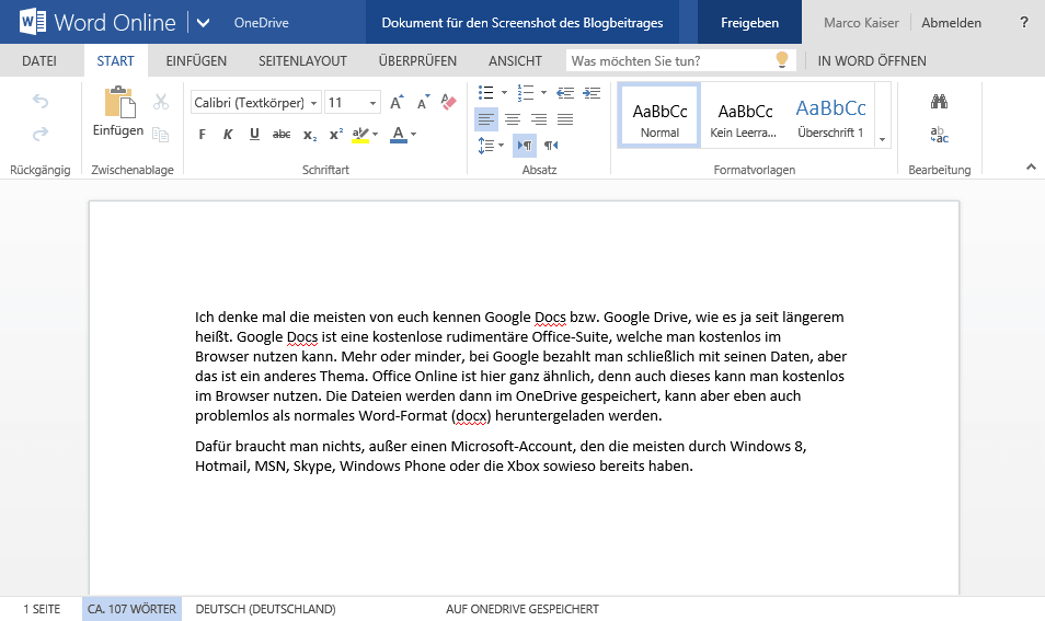 Office Online - Word Online Beispiel – Was ist Office 365?