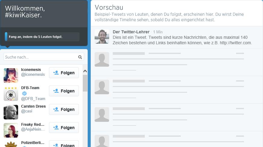 Twitter Willkommen Stream