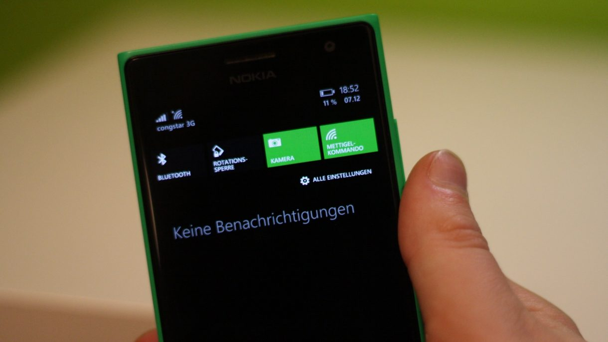 Lumia 735 Quicksettings