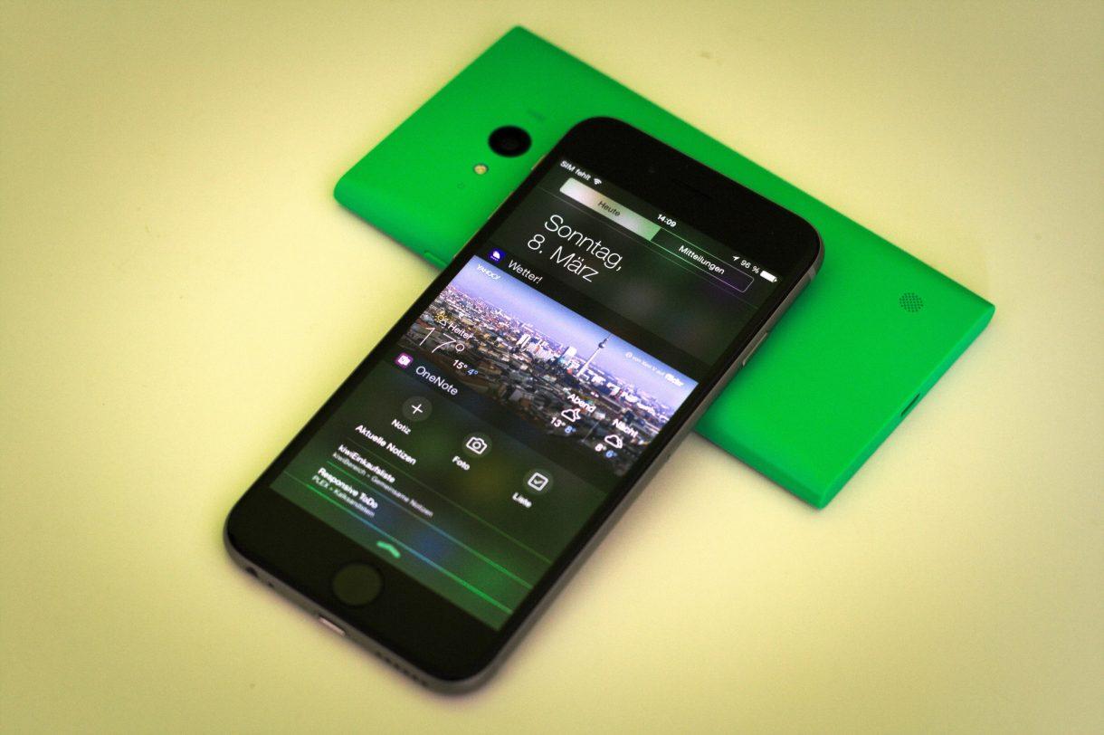 iPhone 6 Test Benachrichtigungscenter mit Lumia 735