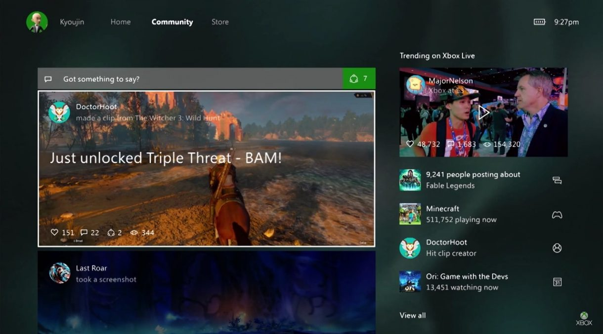 Xbox Windows 10 Community tab