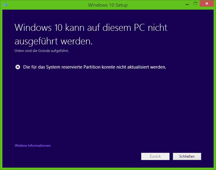 Windows 10 - Die für das System reservierte Partition konnte nicht aktualisiert werden