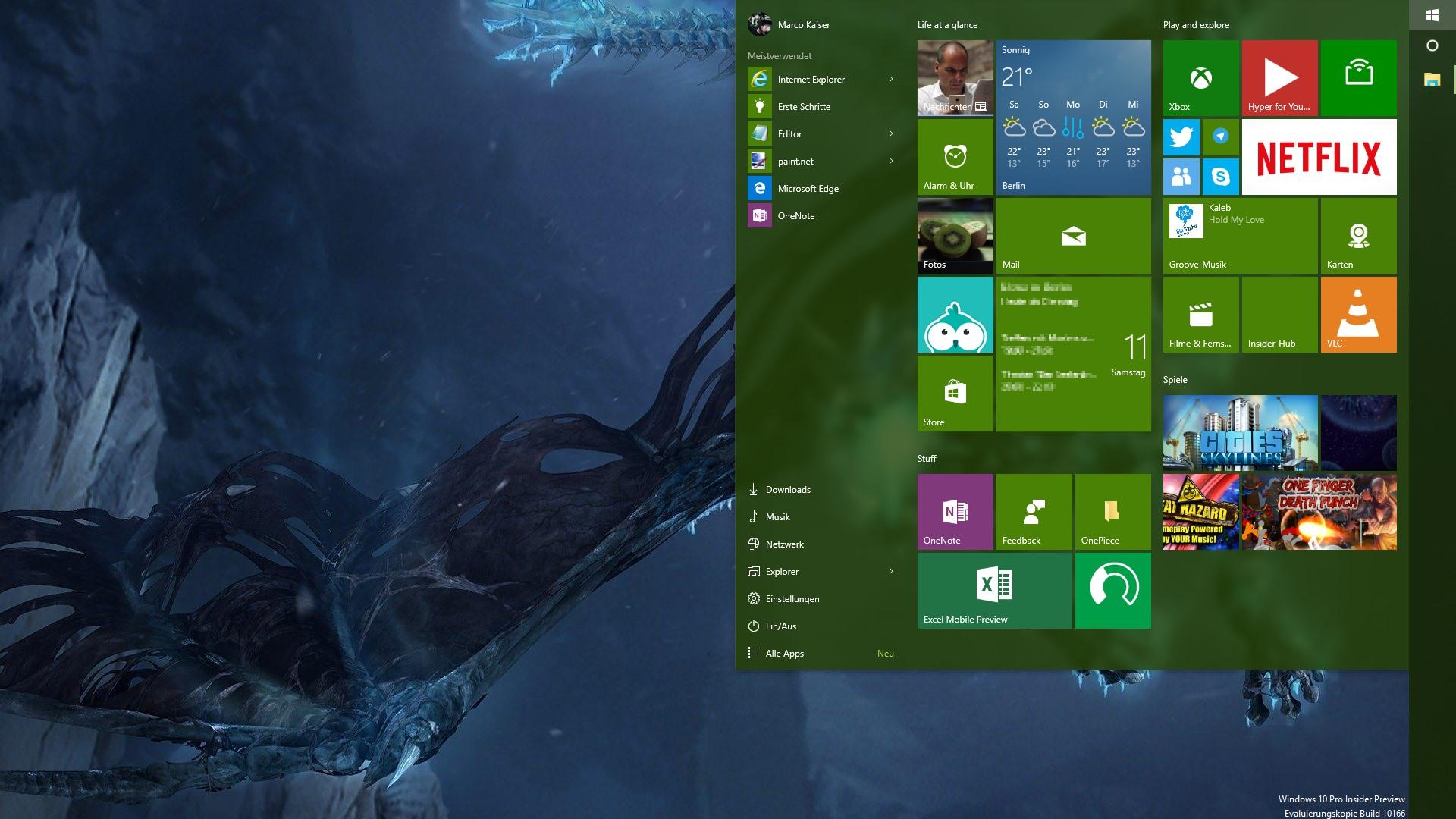 Windows 10 Startmenue - farbig transparent