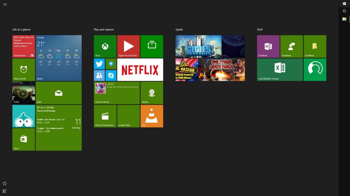 Windows 10 Startmenue - ohne Farbe Vollbild