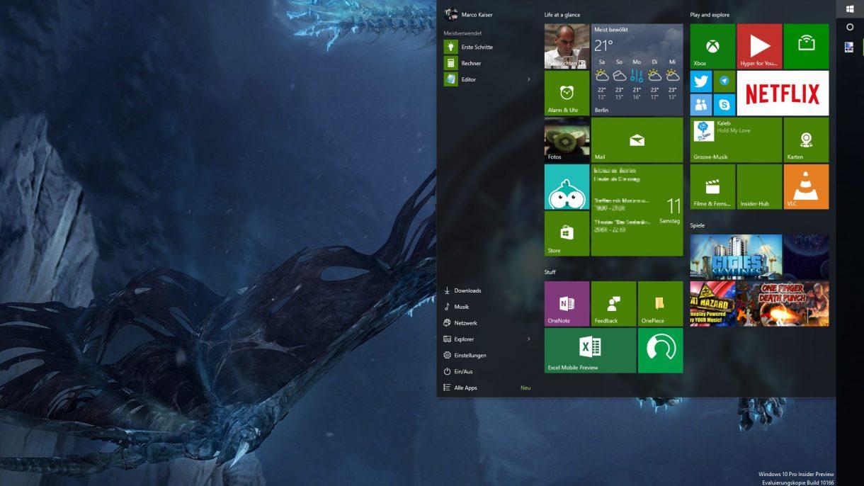 Windows 10 Startmenue - ohne Farbe transparent