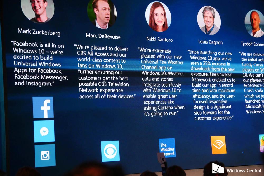 Feedback von Softwarepartnern (Bildquelle: Windows Central)