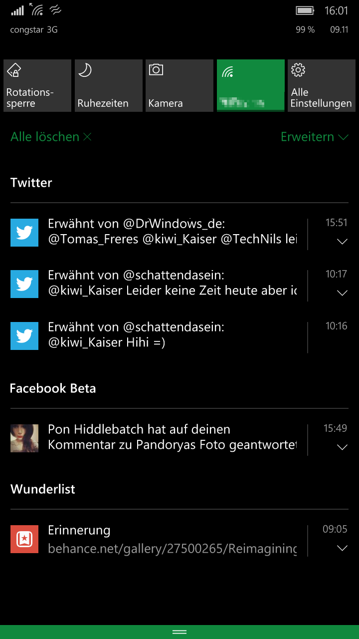 Windows 10 Mobile Info Center