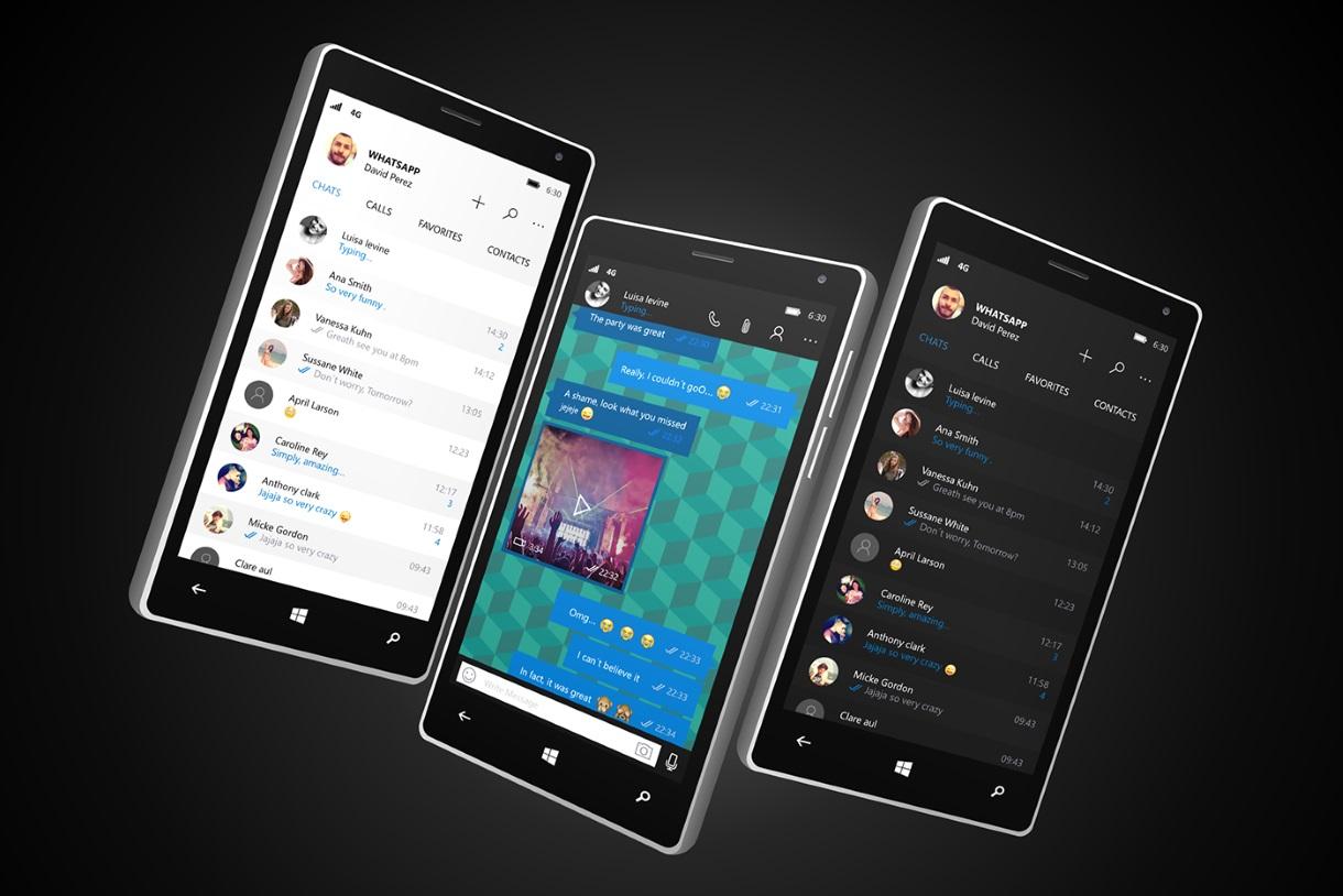 WhatsApp Universal App for Windows 10 Mobile Light and Dark