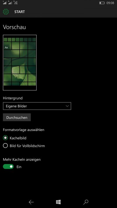 Windows 10 Mobile Homescreen-Settings
