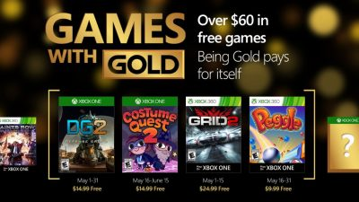Games with Gold im Mai:  Defense Grid 2, Costume Quest 2, GRID 2 & Peggle