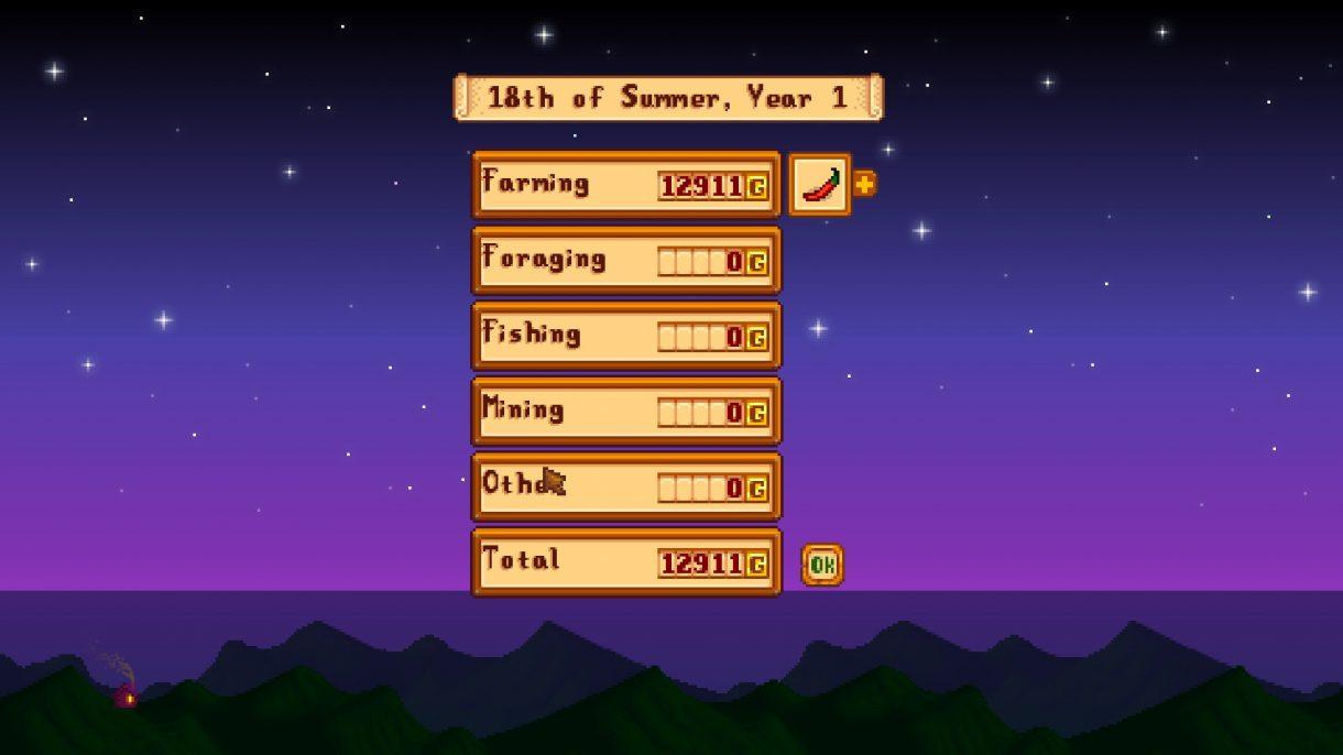 Stardew Valley Screenshot vom Einnahmen-Bildschirm