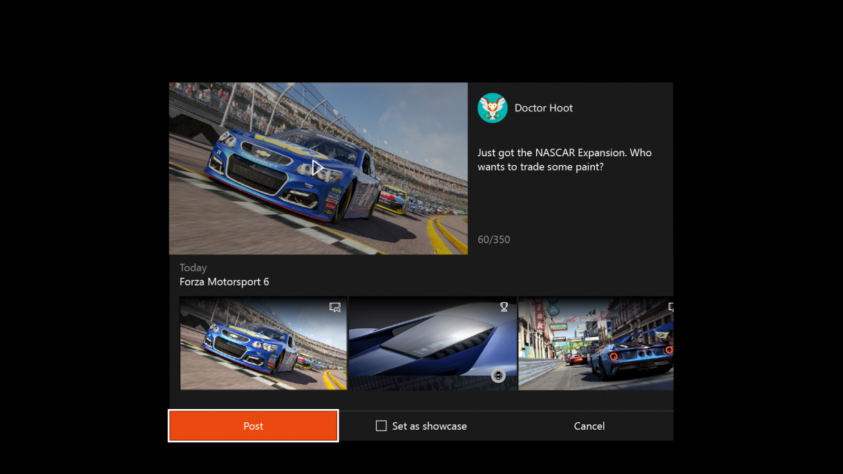 Xbox One Summer Update 2016 Share Dialog