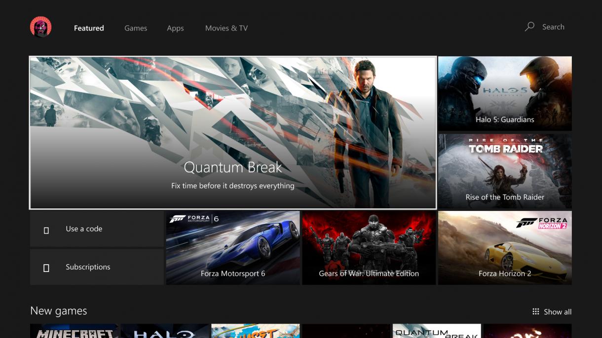 Xbox One Summer Update 2016 Store