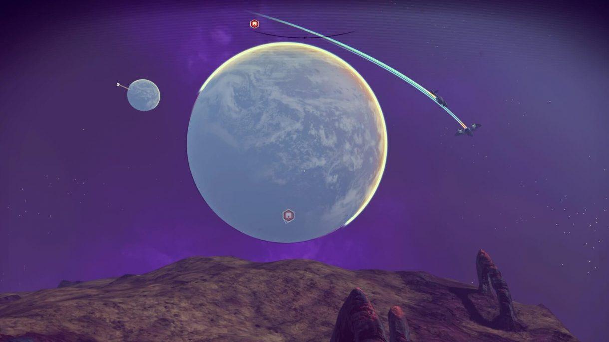No Man's Sky – Lila Himmel und zwei Planeten