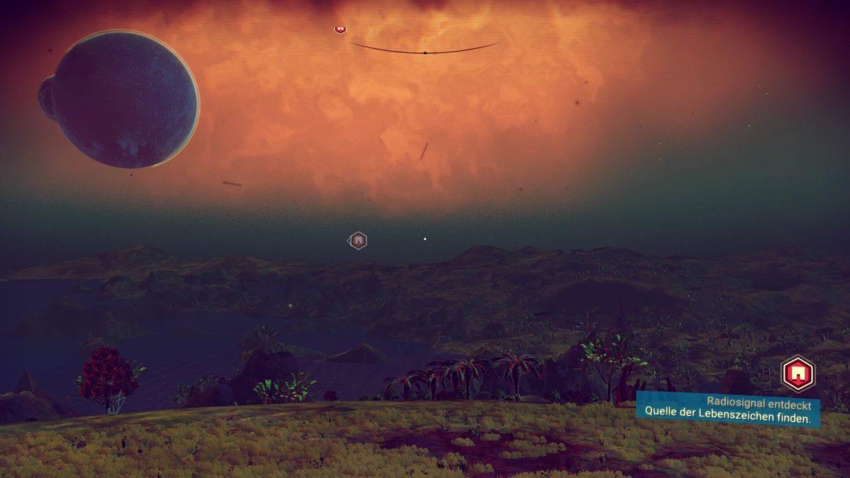 No Man's Sky – Oranger Himmel ein Planet samt Mond am Horizont