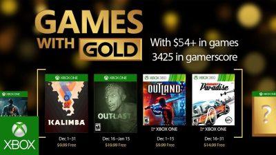 Games with Gold im Dezember – Outlast, Burnout Paradise und ein Ersatz für Deutschland