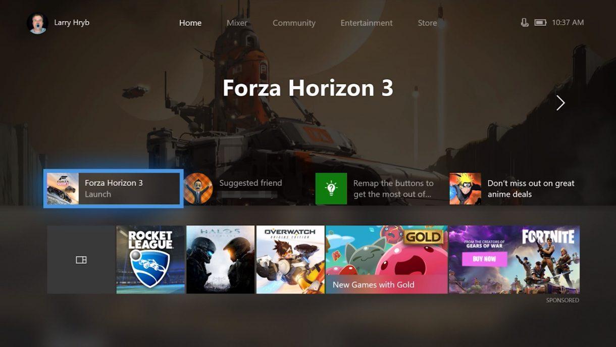 Xbox One Fall Creators Update Dashboard