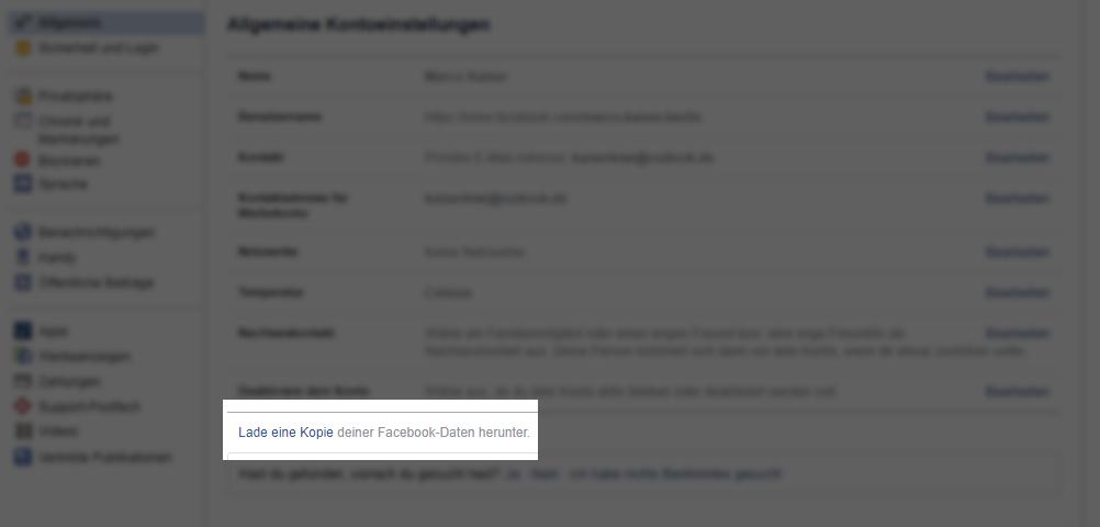Lade Eine Kopie Deiner Facebook-Daten Herunter
