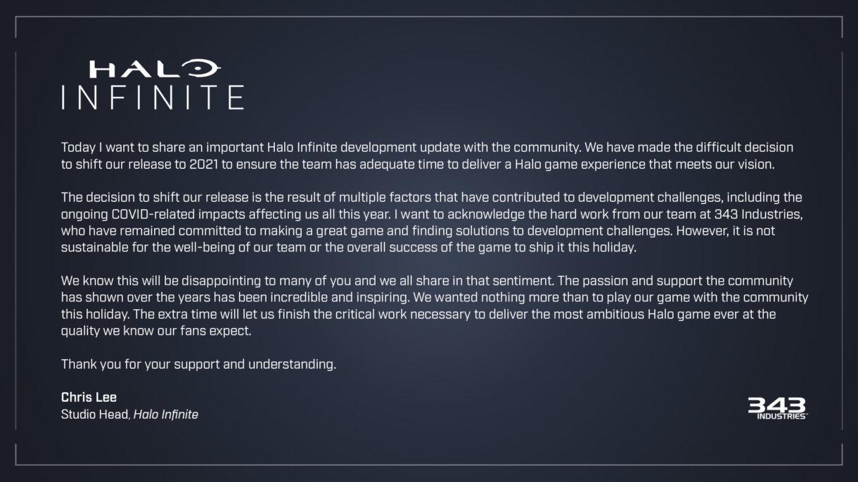 Mitteilung von den Halo-Entwicklern, dass das Spiel auf unbestimmte Zeit in 2021 verschoben wird